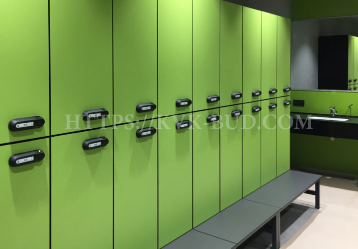 Particleboard lockers for changing rooms